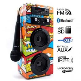 ALTAVOCES BIWOND JOYBOX KARAOKE PORTABLE 10W BT SD RADIO MICROFONO COMIC